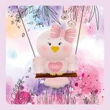 Pássaro cor-de-rosa da Páscoa no fundo da flor da mola Fotografia de Stock