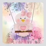 Pássaro cor-de-rosa da Páscoa no fundo da flor da mola Foto de Stock