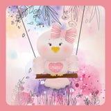 Pássaro cor-de-rosa da Páscoa no fundo da flor da mola Fotos de Stock