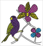 Pássaro da cor de Zentangle Fotos de Stock Royalty Free
