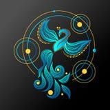 Pássaro de Phoenix Ilustração flaing do vetor do pássaro do pavão Projeto geométrico da tatuagem de Firebird ilustração royalty free