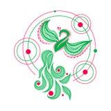 Pássaro de Phoenix Ilustração flaing do vetor do pássaro do pavão Projeto geométrico da tatuagem de Firebird ilustração do vetor