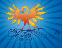 Pássaro de Phoenix na filial decorativa Fotografia de Stock Royalty Free