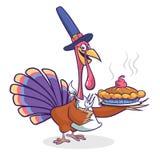 Pássaro de Turquia dos desenhos animados da ação de graças que guardam a forquilha e torta isolada Vector a ilustração do chapéu  imagens de stock royalty free
