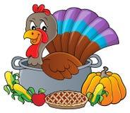 Pássaro de Turquia na imagem 3 do tema da bandeja ilustração stock