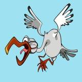Pássaro de voo engraçado da cegonha dos desenhos animados com bico aberto e gritos Fotografia de Stock