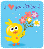 Pássaro do dia de Mother's com flores Imagem de Stock