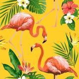 Pássaro do flamingo e fundo tropical das flores - teste padrão sem emenda ilustração do vetor