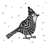 Pássaro do pisco de peito vermelho de Zentagle em gráficos de um chapéu do Natal ilustração royalty free