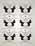 Pássaro do zumbido e teste padrão floral Imagem de Stock Royalty Free
