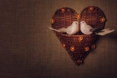 Pássaro dois pequeno os amantes, coração Imagem de Stock Royalty Free