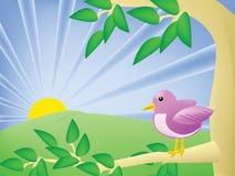 Pássaro dos desenhos animados em uma árvore Imagens de Stock