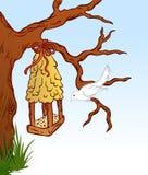 Pássaro e árvore hous. Vetor ilustração stock