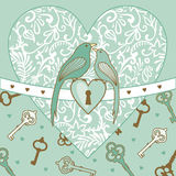 Pássaro-e-coração Imagens de Stock