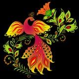 Pássaro e flor coloridos Fotografia de Stock Royalty Free