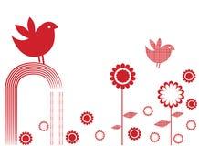 Pássaro e flores Imagens de Stock Royalty Free
