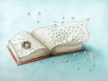 Pássaro e letras de voo do livro - ilustração digital colorida ilustração royalty free
