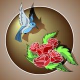 Pássaro e rosas Imagem de Stock