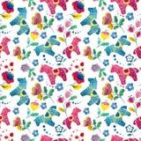 Pássaro engraçado da flor do teste padrão do papel de parede do cavalo Fotografia de Stock