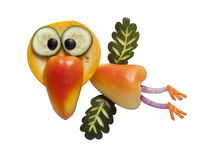 Pássaro engraçado feito dos vegetais fotografia de stock royalty free