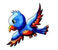 Pássaro feliz do azul da aquarela ilustração royalty free