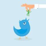 Pássaro humano do azul das alimentações de mão ilustração royalty free