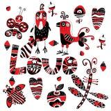 Pássaro, libélula, borboleta e besouro em um fundo branco Foto de Stock