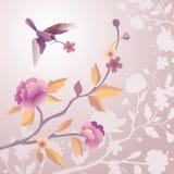 Pássaro na manhã pálida - jardim de flor cor-de-rosa ilustração royalty free