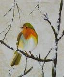 Pássaro na pintura a óleo do ramo na lona Imagens de Stock Royalty Free