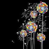 Pássaro natural do linecard da flor Imagem de Stock