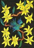Pássaro no ramo com as flores amarelas, pintando ilustração royalty free