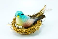 Pássaro pequeno Handmade no ninho handmade Imagens de Stock Royalty Free