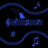 Pássaro que canta notas musicais Fotografia de Stock Royalty Free