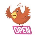 Pássaro que mantém um sinal com palavra aberto Imagens de Stock