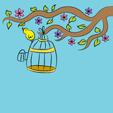 Pássaro que senta-se na gaiola Foto de Stock Royalty Free