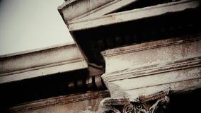 Pássaro sinistro que senta-se no telhado da construção de deterioração velha, filme de terror, presságio mau filme