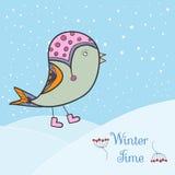 Pássaro verde do inverno ilustração do vetor