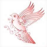 Pássaro vermelho bonito com um teste padrão ilustração do vetor