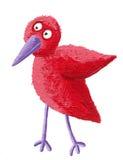 Pássaro vermelho pequeno engraçado ilustração do vetor
