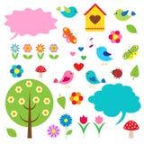 Pássaros, árvores e bolhas para o discurso Imagem de Stock Royalty Free