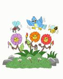 Pássaros, abelhas, moscas e desenhos animados felizes das flores ilustração royalty free