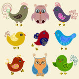 Pássaros ajustados Imagem de Stock Royalty Free