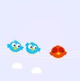 Pássaros azuis na linha do vermelho diverso um ilustração stock