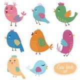 Pássaros bonitos ajustados Coleção do vetor Fotografia de Stock