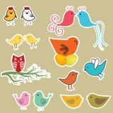 Pássaros bonitos ajustados. Ilustração do vintage ilustração do vetor