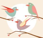 Pássaros bonitos do vetor conservado em estoque no grupo dos desenhos animados do vetor ilustração stock