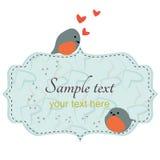 Pássaros bonitos dos pares que sentam-se no frame Imagens de Stock Royalty Free