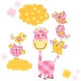 Pássaros bonitos e girafa Imagens de Stock