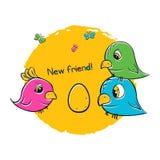 Pássaros bonitos para a cópia do t-shirt 3 pássaros estão esperando pintainhos Fotos de Stock Royalty Free