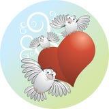 Pássaros com coração Fotografia de Stock